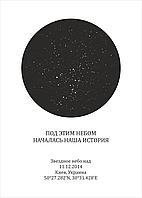 """Постер-карта звёздное небо """"Под этим небом началась наша история"""" Размер 21*30 см"""