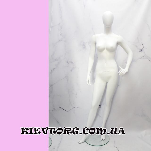 Манекен женский выставочный для одежды белый матовый безликий