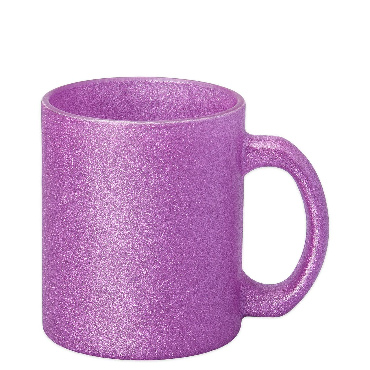 Чашка для сублимации стекло ГЛИТТЕР 300 мл (розовый)