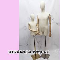 Манекен детский подростковый торс с деревянными руками на шарнирах для магазина одежды