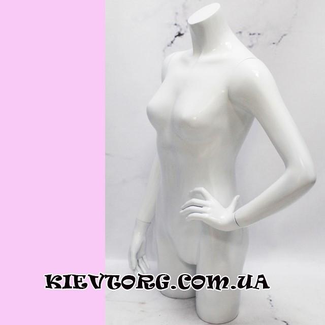 Манекен женский торс белый глянцевый лакированный для магазина одежды выставочный