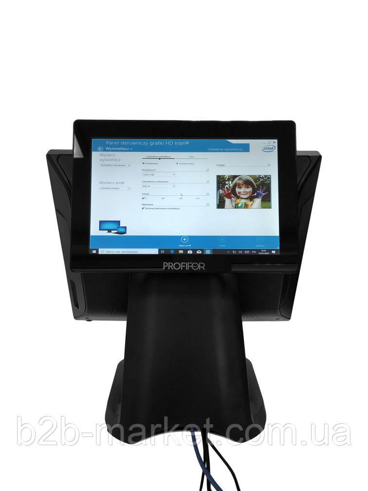 """Сенсорний POS-Термінал PROFIFOR FS1506 J1900 4Gb 128 SSD + Рекламний монітор клієнта 10.1"""" IPS"""