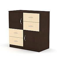 Комод-2+4в спальню на 4выдвижных ящикаи 2 двери, комоды для вещей из ДСП 84х45х85 см(Компанит), венге