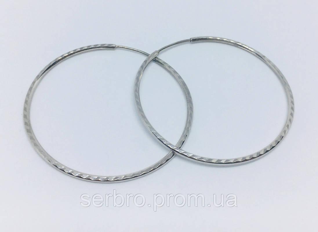 Сережки кольца в серебре без камней Фернанда