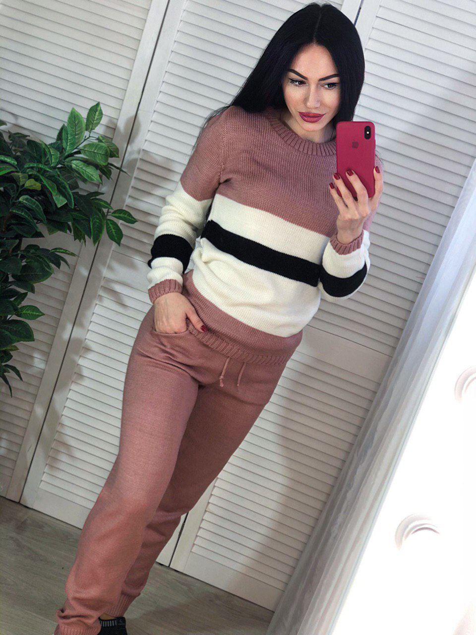 Костюм женский теплый вязаный брюки и кофта с полосой
