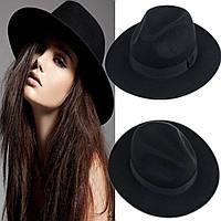 Модная весенне-осенняя шляпа Федора Женская шляпа с широкими полями