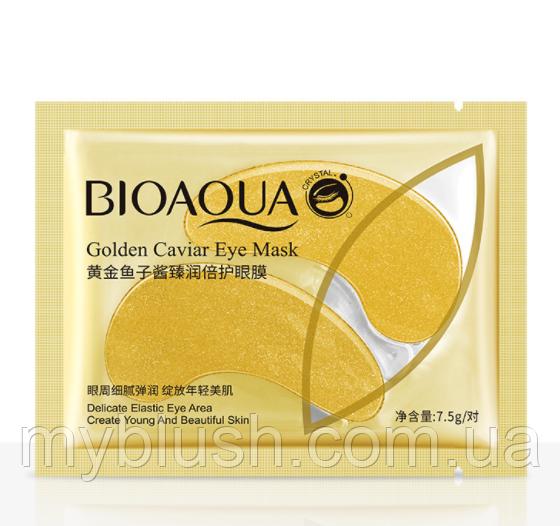 Патчи для глаз Bioaqua Collagen Gold Caviar с частичками золота и красной икрой (1 пара)