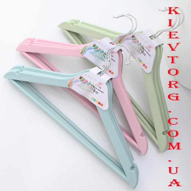 Набор плечиков вешалок тремпелей для одежды с антискользящей перекладиной бирюзовые, 44 см, 3 шт