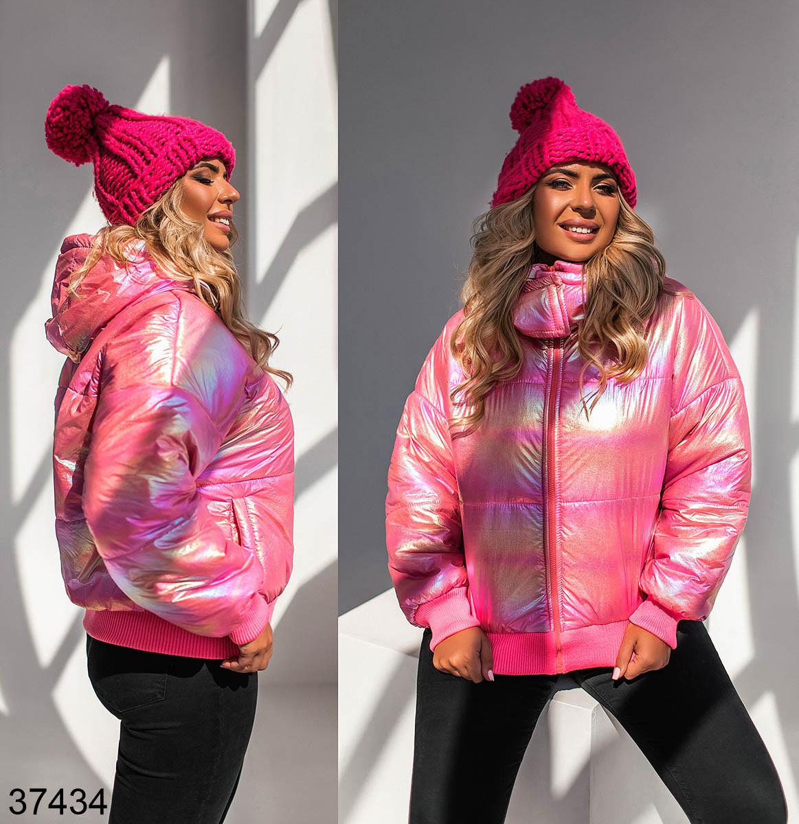 Демисезонная яркая куртка с капюшоном с голограммной плащевки на молнии с 50 по 56 размер - SvitStyle