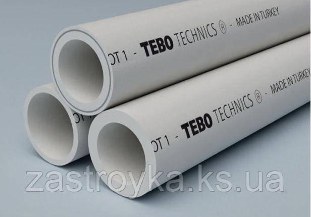 Труба ППР 25мм холодная Tebo водопроводная серая Pn20 (для пайки) Турция