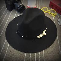 Модная весенне-осенняя шляпа федора с жемчужинами женская шляпа с широкими полями