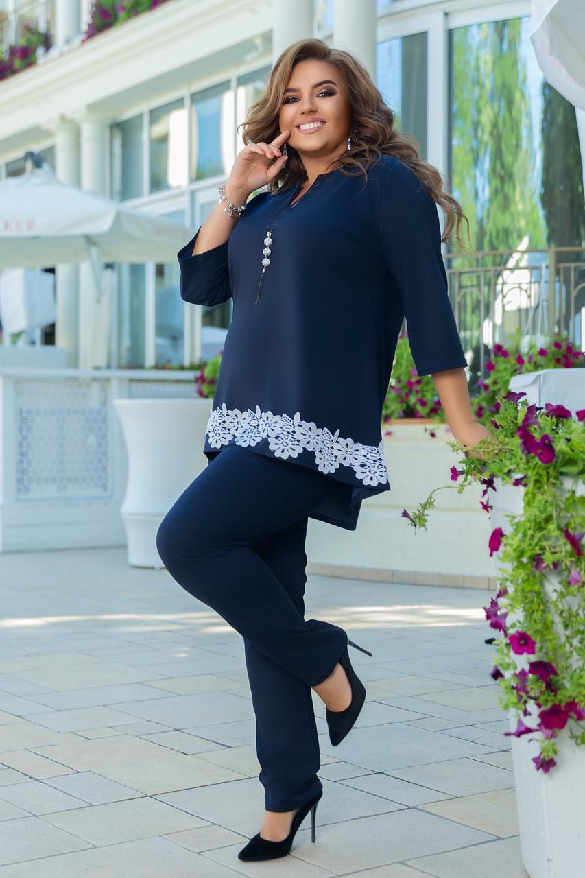 Женский брючный костюм двойка блуза и штаны креп дайвинг+кружево размер батальный: 50-52, 54-56, 58-60,62-64