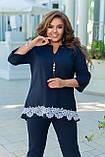 Женский брючный костюм двойка блуза и штаны креп дайвинг+кружево размер батальный: 50-52, 54-56, 58-60,62-64, фото 2
