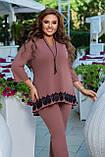 Женский брючный костюм двойка блуза и штаны креп дайвинг+кружево размер батальный: 50-52, 54-56, 58-60,62-64, фото 3