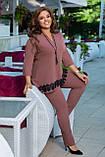 Женский брючный костюм двойка блуза и штаны креп дайвинг+кружево размер батальный: 50-52, 54-56, 58-60,62-64, фото 10