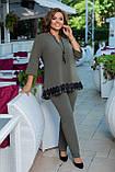 Женский брючный костюм двойка блуза и штаны креп дайвинг+кружево размер батальный: 50-52, 54-56, 58-60,62-64, фото 4