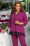 Женский брючный костюм двойка блуза и штаны креп дайвинг+кружево размер батальный: 50-52, 54-56, 58-60,62-64, фото 9