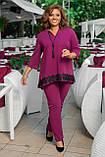 Женский брючный костюм двойка блуза и штаны креп дайвинг+кружево размер батальный: 50-52, 54-56, 58-60,62-64, фото 7