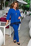 Женский брючный костюм двойка блуза и штаны креп дайвинг+кружево размер батальный: 50-52, 54-56, 58-60,62-64, фото 8