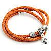 Женский оранжевый плетеный кожаный браслет Pandora (Пандора)