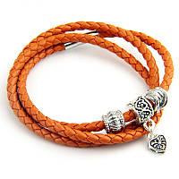 Женский оранжевый плетеный кожаный браслет Pandora (Пандора), фото 1