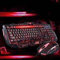 Стильная игровая клавиатура V-100 и мышка с подсветкой