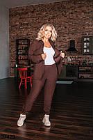 Вельветовый брючный костюм с рубашкой с рядом кнопок впереди с 50 по 54 размер, фото 4