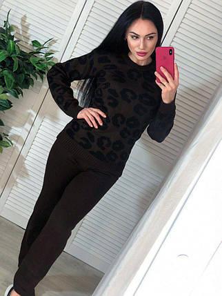 Костюм жіночий теплий в'язаний штани і кофта з принтом леопард, фото 2