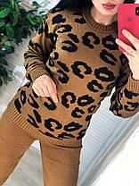 Костюм жіночий теплий в'язаний штани і кофта з принтом леопард, фото 3