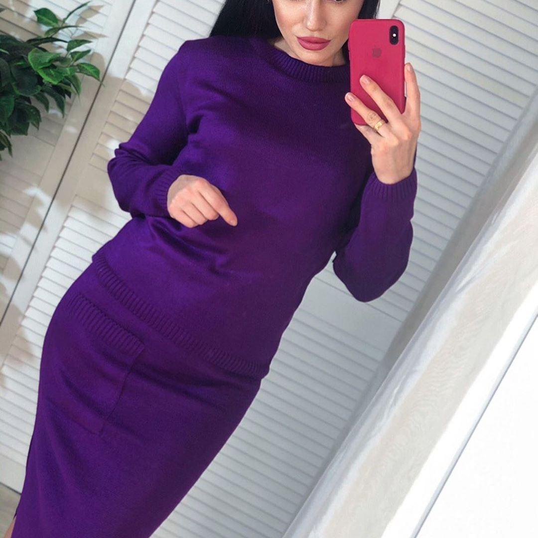 Костюм женский вязаный кофта и юбка карандаш ниже колена