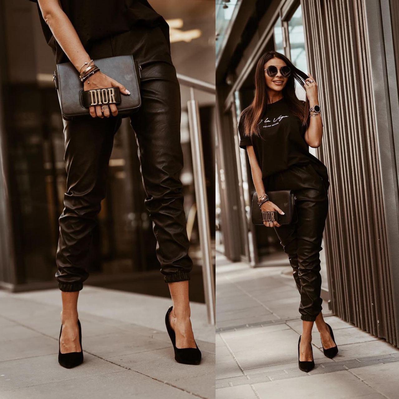 Стильні брюки з високою талією еко шкіра