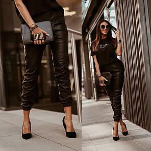 Стильні брюки з високою талією еко шкіра, фото 2