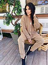 Костюм вязаный прогулочный брюки и кофта на пуговицах, фото 3