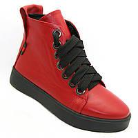 Ботинки женские красного цвета из натуральной кожи на плоском ходу сезон весна-осень на шнуровке