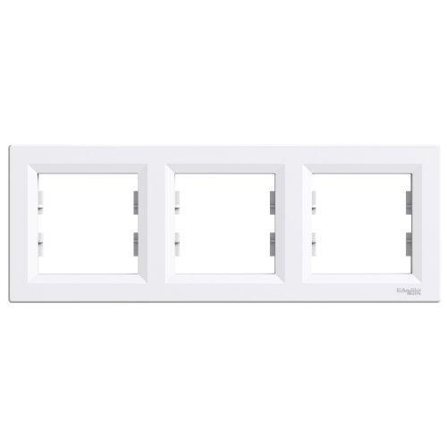 Рамка трехместная горизонтальная Asfora Schneider Electric белая