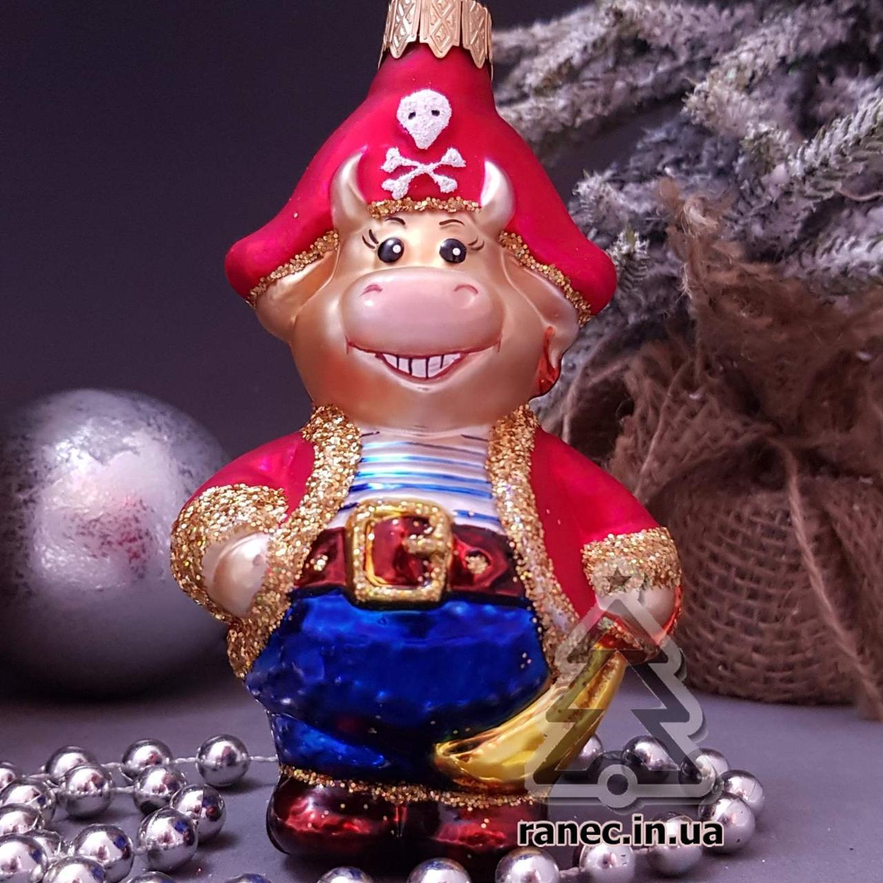 Стеклянная елочная игрушка Бык-Пират 389/с