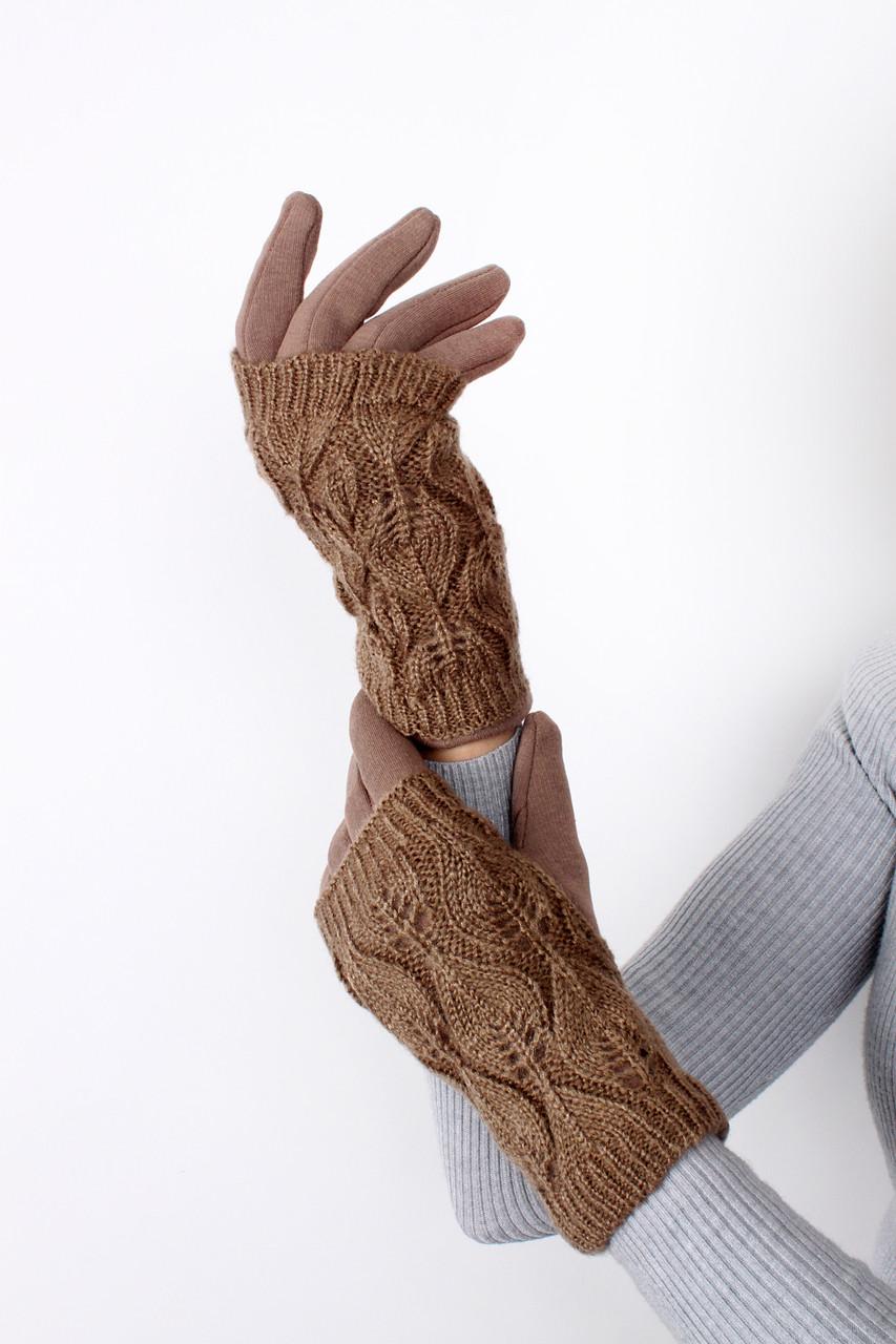 Перчатки FAMO Женские перчатки трикотажные с ажурной митенкой Рики капучиновые One size (PER1814)