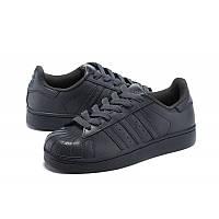 Кроссовки женские Adidas Superstar supercolor PW Черные кожаные