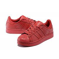 Кроссовки женские Adidas Superstar supercolor PW красные кожаные