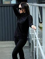 Женский весенний черный вельветовый спортивный костюм