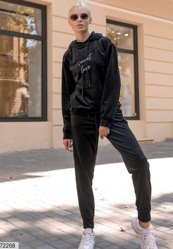 Р. 42-46 Женкий спортивный велюровый костюм черный