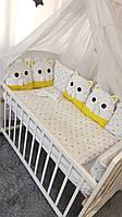"""Постельный комплект в кроватку для малыша """"Котята"""" с бортиками из подушек"""