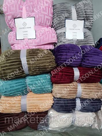 Бамбукове покривало плед смужка шарпей на овчині 200х220, фото 2