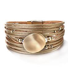 Стильний шкіряний браслет золотого кольору