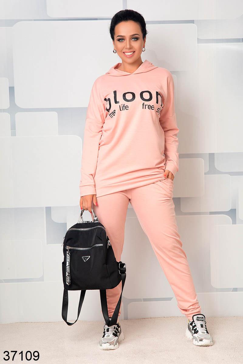 Модный спортивный костюм штаны + кофта  с капюшоном р. 46-48, 50-52, 54-56, 58-60