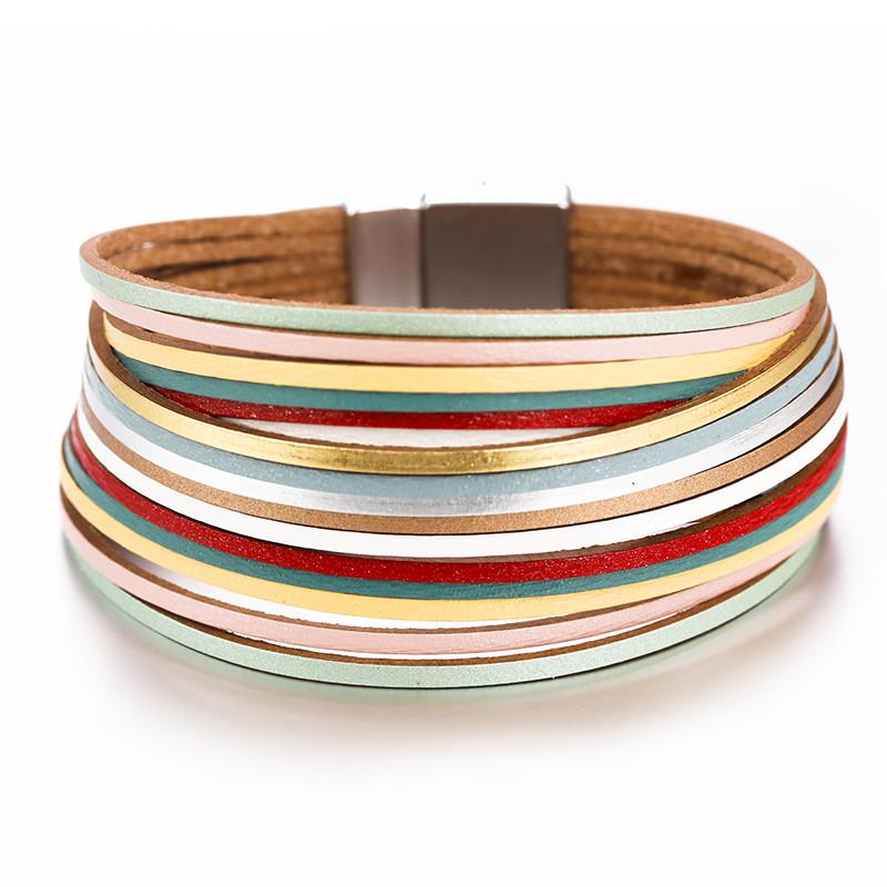 Стильный кожаный браслет разноцветный