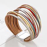 Стильный кожаный браслет разноцветный, фото 2