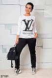 Стильный спортивный костюм штаны + кофта с рисунком р. 46-48, 50-52, 54-56, 58-60, фото 5