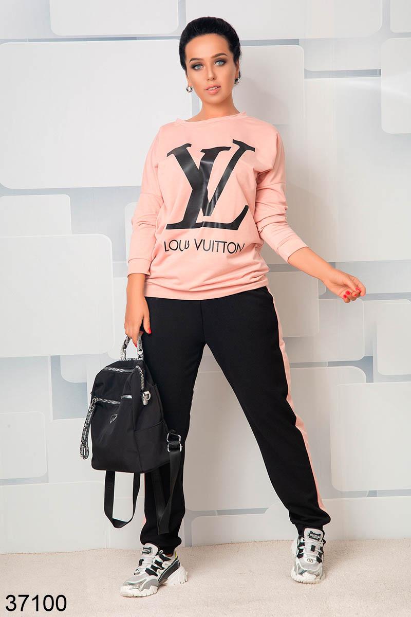 Стильный спортивный костюм штаны + кофта с рисунком р. 46-48, 50-52, 54-56, 58-60