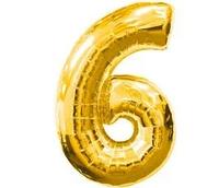 Шар цифра 6 фольгированный золото 60 см, фото 1